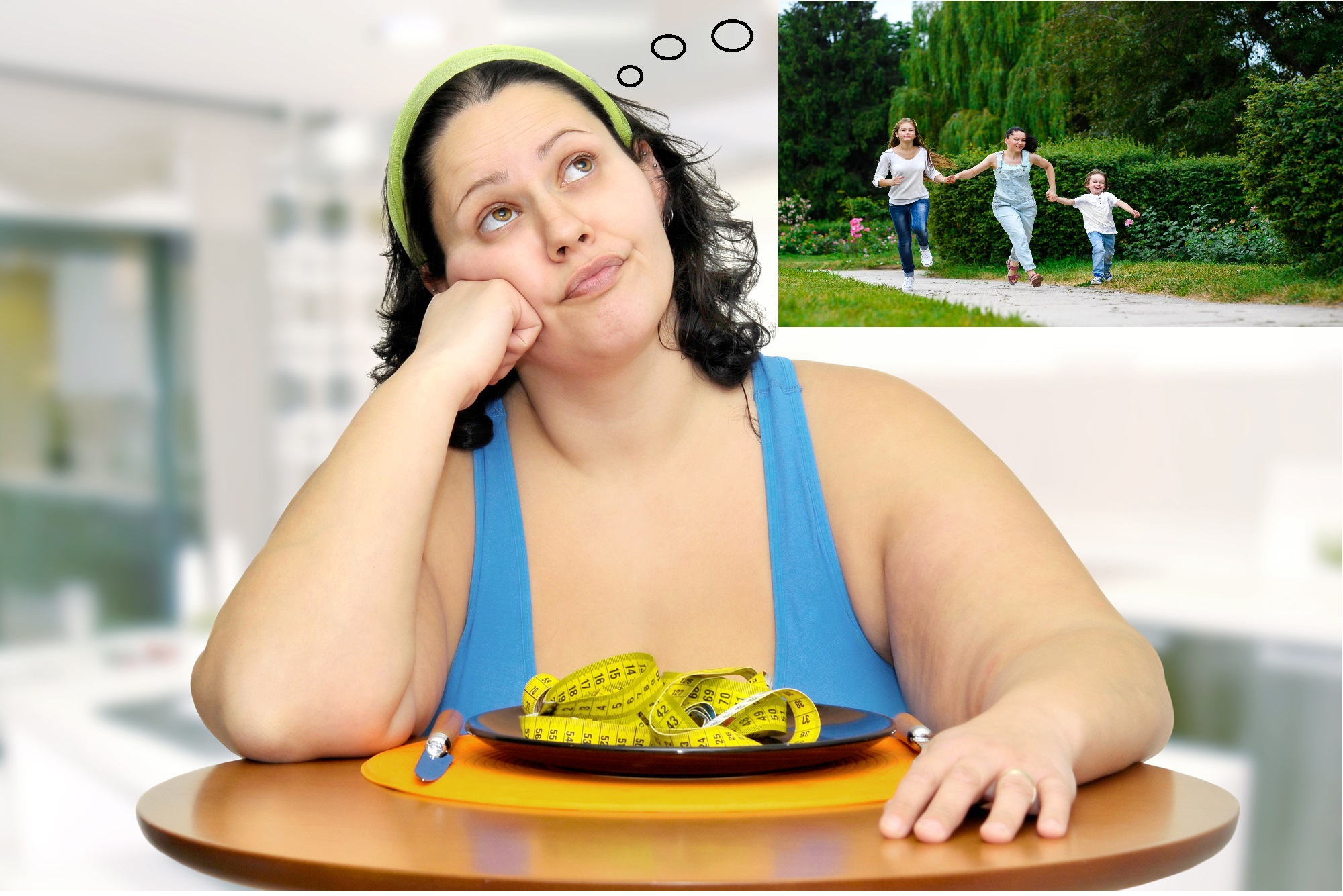 Large mum thinking about weight loss
